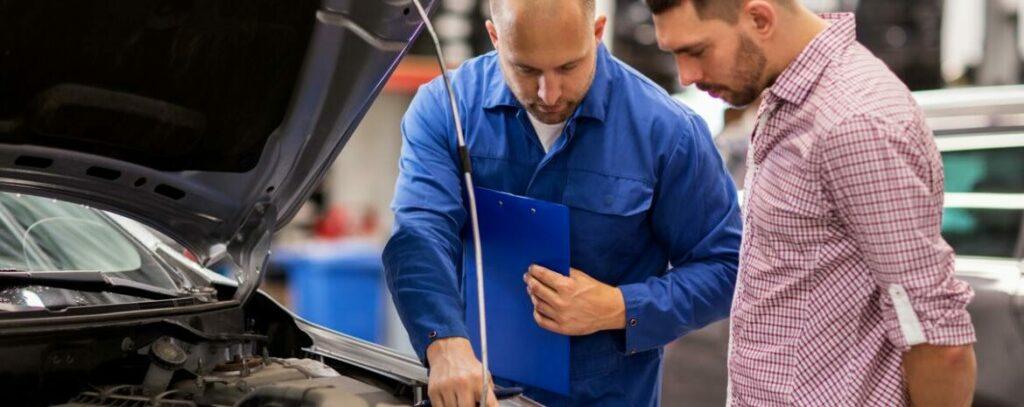 Customer and mechanic